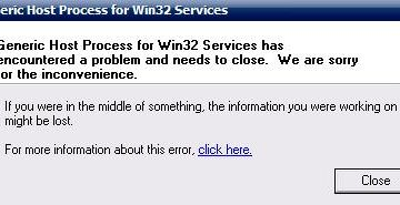 Generic Host Process for Win32 Services has encountered a problem