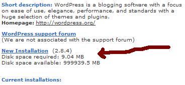 Wordpress installation using fantastico