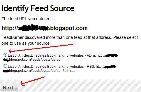 identify feed source for feedburner