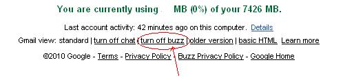 remove buzz from gmail