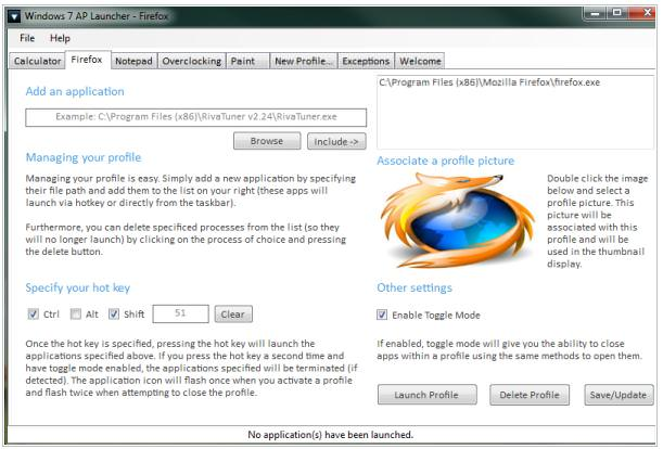 windows 7 application louncher