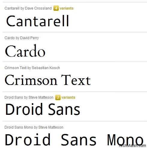 thesis google fonts