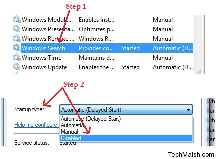 disable windows search index