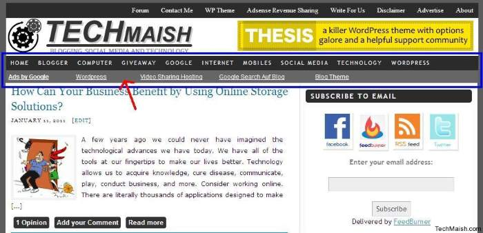 techmaish nav bar ads Display Adsense Ads Below Nav Bar in TechMaish WordPress Theme