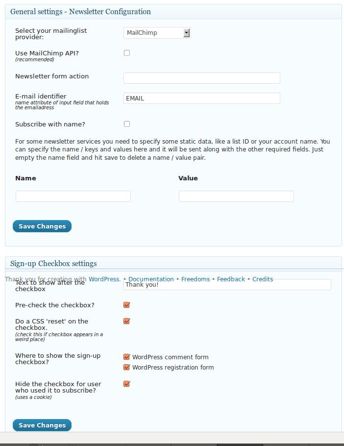 WordPress Opt-in Plugin Settings