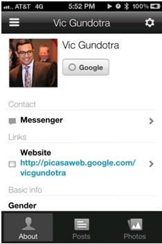 google plus iphone profile