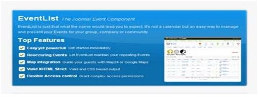 event list on joomla