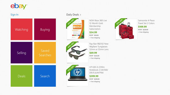 eBay app for win 8