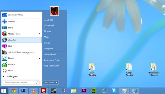 windows 8 start menu button