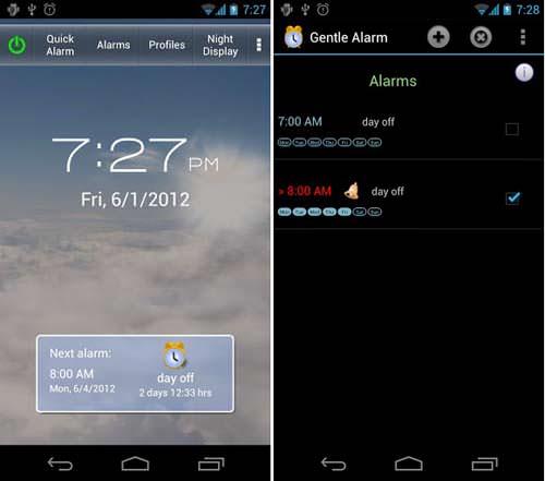 Gentle Alarm app