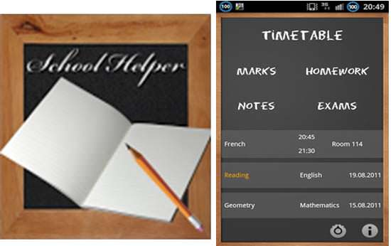School Helper Android App Top 10 Android Apps for College Students in 2013