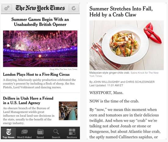 The New York Times app