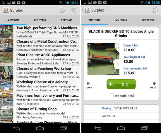 Surplex Auctions Android