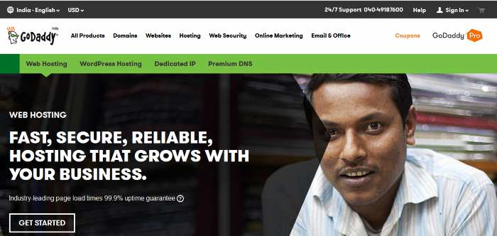 GoDaddy India Web Host