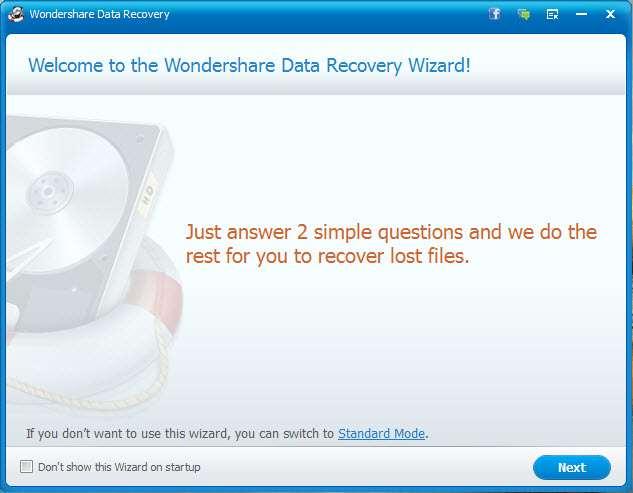 Wondershare Startup Screen