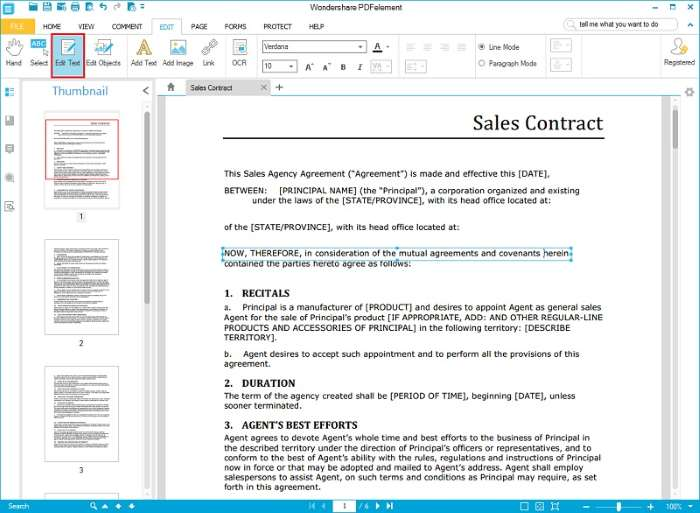 Create Sales Contract