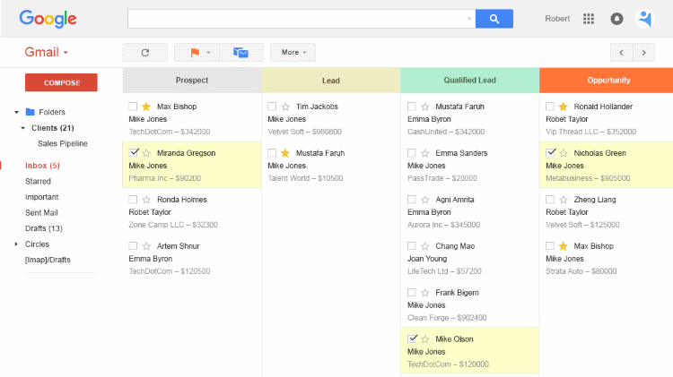 Activity dashboard in the inbox